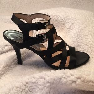 Michael Kors Black Satin strappy buckled heels